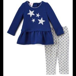 Nannette Matching Sets - Nannette Navy Sequin Stars Tunic & Legging Set